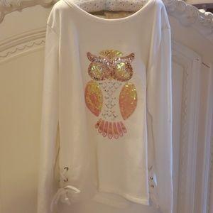 Girls sparkle owl shirt